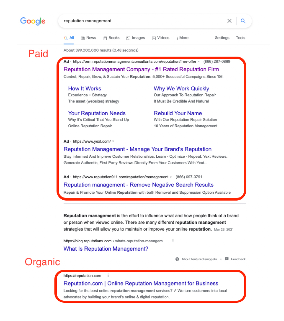 SEO and SEM example in Google search engine